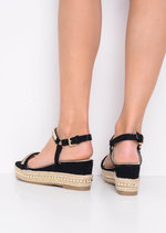 Faux Suede Studded Espadrille Wedge Heel Sandals Black
