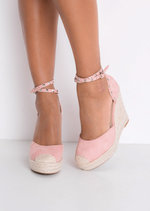 Faux Suede Studded Strap Espadrille Wedge Sandals Pink