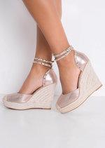 Metallic Studded Strap Espadrille Wedge Sandals Rose Gold