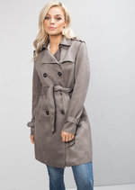 Faux Suede Tie Waist Long Trench Coat Grey