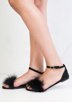 Feather Peep Toe Flat Sandals Black