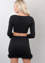 Feather Trim Tie Front Crop Top and Skirt Co Ord Set Black