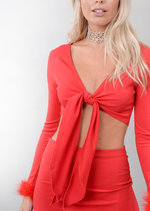 Feather Trim Tie Front Crop Top and Skirt Co Ord Set Red