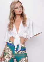 Flare Sleeve Tie Front Crop Top White