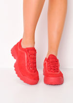 Flatform Faux Suede Chunky Trainers Red