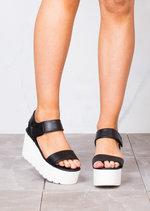 Flatform Wedge Sandals Black