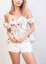Floral Bardot Puff Sleeve Frill Crop Top White