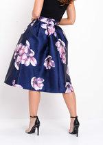 Floral Circle Midi Skirt Navy Blue