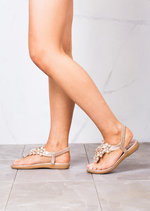 Floral Embellished T Bar Padded Summer Flat Sandals Rose Gold