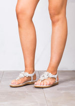 Floral Embellished T Bar Padded Summer Flat Sandals Silver