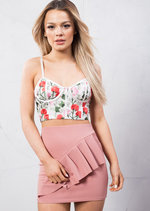 Floral Embroidered Bustier Crop Top White