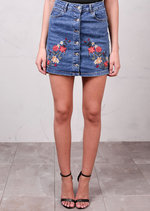 Floral Embroidered Button Up Mini Denim Skirt Mid Blue