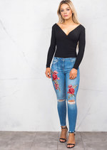 Floral Embroidered Knee Ripped Detail Skinny Jeans