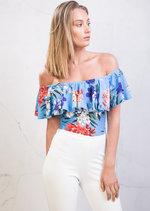 Floral Frill Bardot Off Shoulder Bodysuit Blue