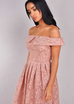 Floral Lace Off The Shoulder Midi Dress Pink