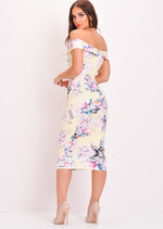 Floral Off The Shoulder Midi Bodycon Dress Yellow