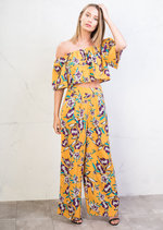 Floral Print Off Shoulder Crop Top Palazzo Trousers Co Ord Mustard Yellow