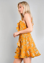Floral Ruffle Trim Skater Dress Mustard Yellow