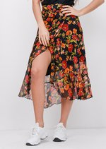Floral Ruffle Wrap Over Midi SkirtBlack