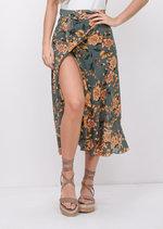 Floral Ruffle Wrap Over Midi Skirt Blue