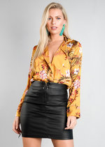 Floral Satin Wrap Bodysuit Mustard Yellow