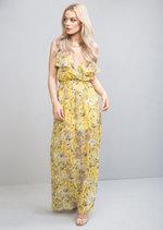 Floral Side Split Chiffon Maxi Dress Yellow