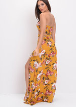 Floral Split Leg Maxi Skirt Co Ord Set Yellow