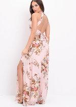 Floral Back Tie Thigh Split Maxi Dress Pink