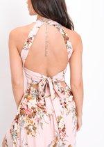 Floral Thigh Split Maxi Dress Pink