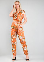 Satin Floral Tie Waist Jumpsuit Rust Brown