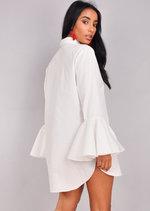 Flute Sleeve Mini Shirt Dress White