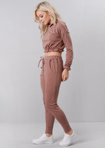 Frill Crop Top Tracksuit Loungewear Set Pink