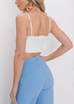 Frill Crop Top White