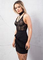 Frill Detail Bodycon Mini Skirt Black