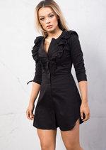 Frill Detail Shirt Dress Tie Sleeve Black