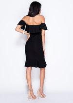Frill Off The Shoulder Midi Bodycon Dress Black