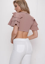 Frill Sleeve Crop Top Pink