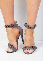 Frill Strappy Stiletto Heeled Sandals Suede Grey