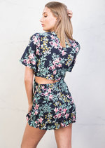 Front Tie Frill Tropical Crop Top Green