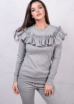 Frilled Bardot Design Tracksuit Loungewear Set Co Ord Grey