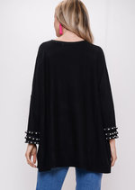 Fringe Pearl Hem Sleeve Knitted Jumper Dress Black