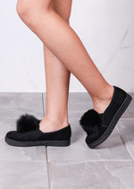 Fur Pom Pom Faux Suede Slip On Sneaker Pumps Black