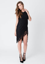 Gema Asymmetric Lace Midi Dress Black
