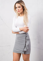 Gingham Check Print Frill Mini Skirt With Zip Black