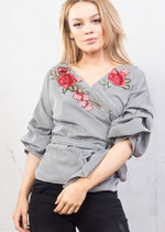 Gingham Floral Embroidered Wrap Over Puff Sleeve Shirt Top Black