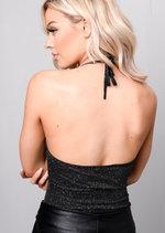 Glitter Embellished Halterneck Backless Bodysuit Black