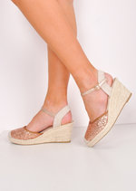Glitter Espadrille Wedge Sandals Gold