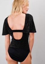 Glitter Frill Sleeve Keyhole Bodysuit Black