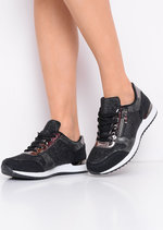 Glitter Metallic Lace Up Trainers Black