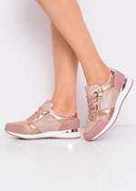 Glitter Metallic Lace Up Trainers Rose Gold